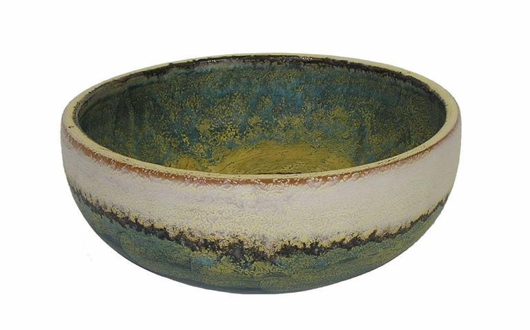 Italian 1970s Glazed Ceramic Bowl by Marcello Fantoni, Italy For Sale