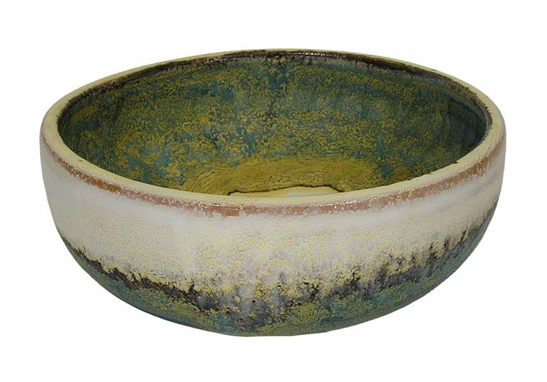 1970s Glazed Ceramic Bowl by Marcello Fantoni, Italy In Excellent Condition For Sale In Winnipeg, Manitoba