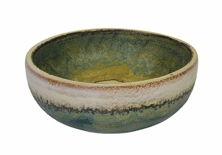 20th Century 1970s Glazed Ceramic Bowl by Marcello Fantoni, Italy For Sale