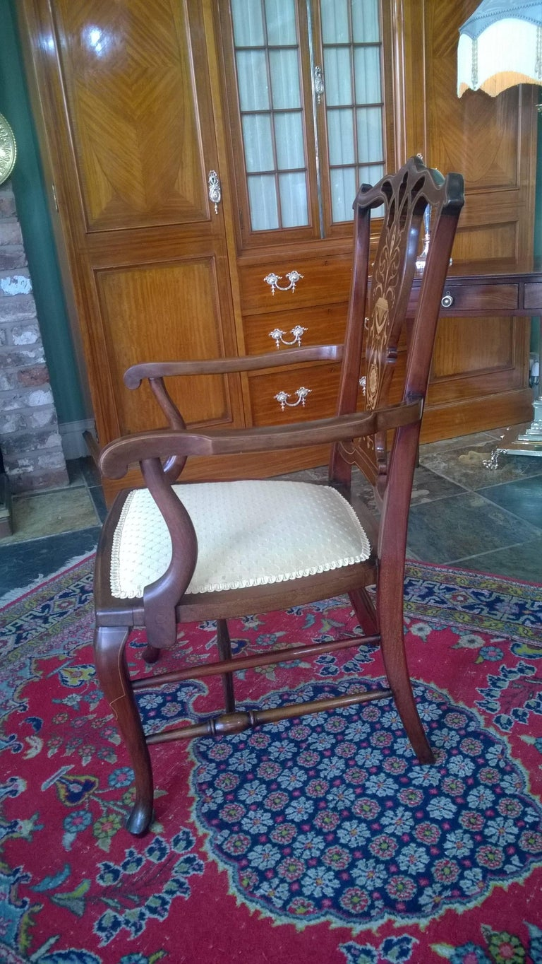Upholstery Edwardian Mahogany and Satinwood Inlaid Armchair For Sale