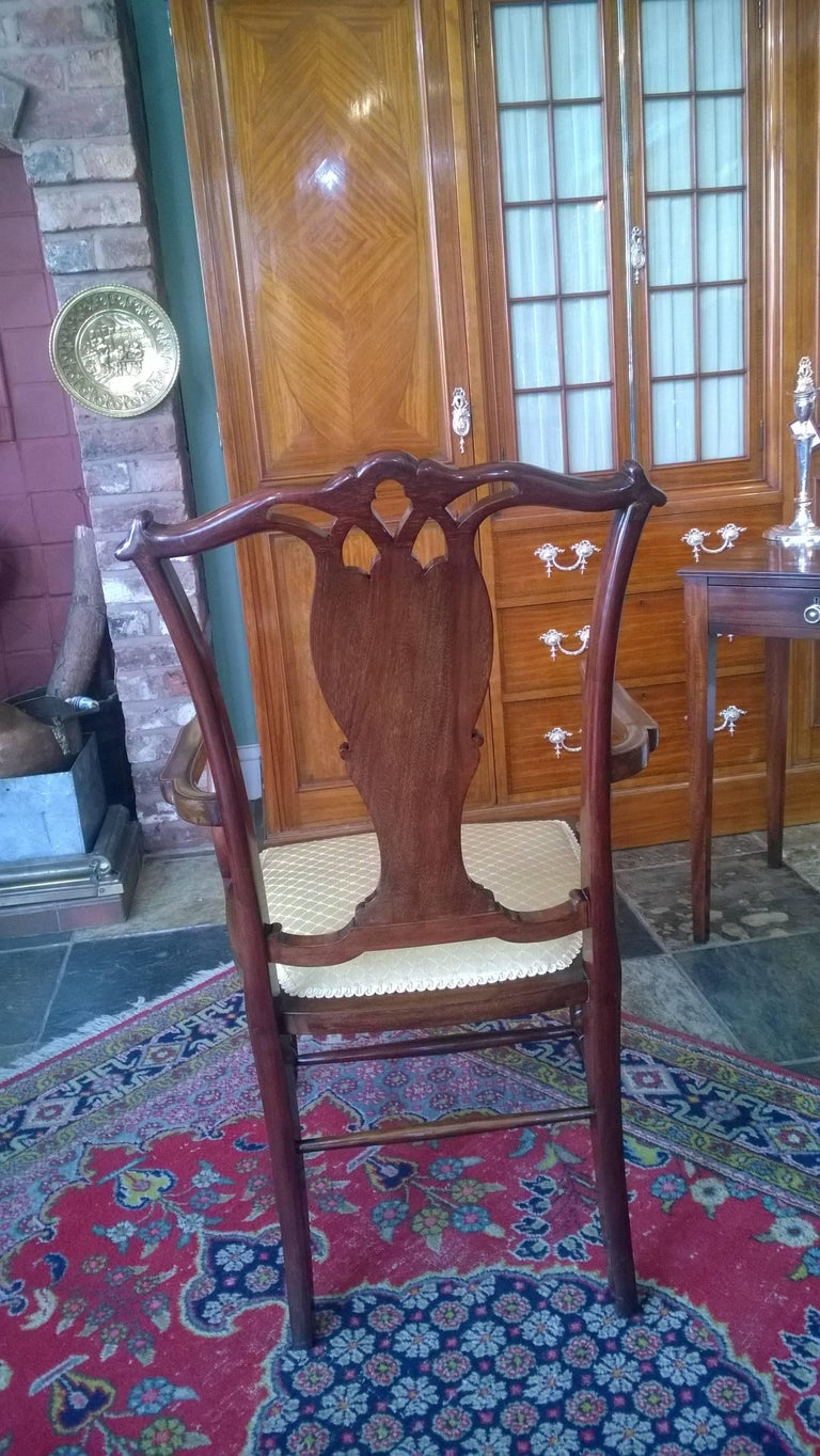 Edwardian Mahogany and Satinwood Inlaid Armchair For Sale 1