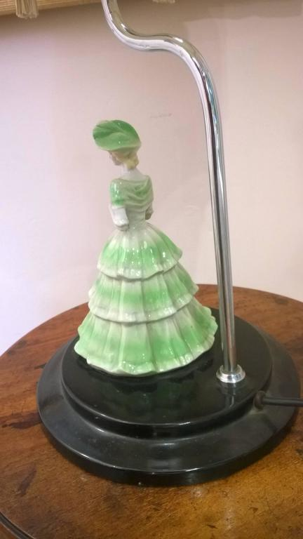Art Deco Table Light with Porcelain Figurine of a Lady 4