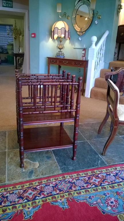 English Victorian Aestetic Period Mahogany Canterbury For Sale