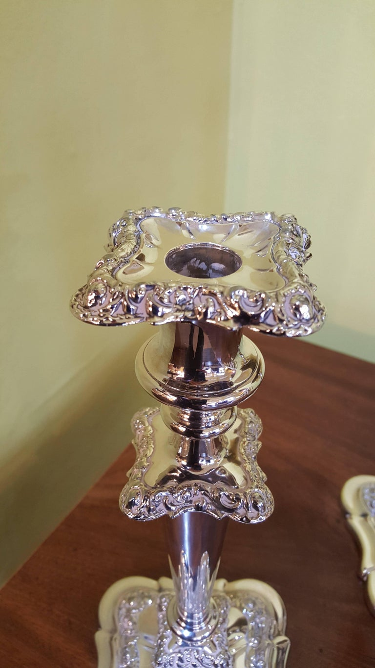 Late Victorian Pair of Late 19th Century Silver Plated Candelabra For Sale