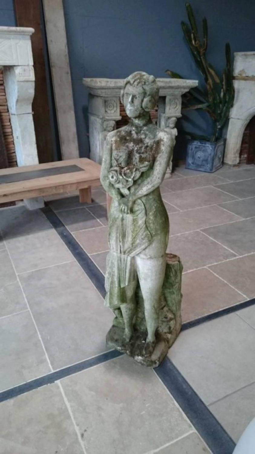 Old Garden Statue: Lady With Flowers Antique Statue For Sale At 1stdibs