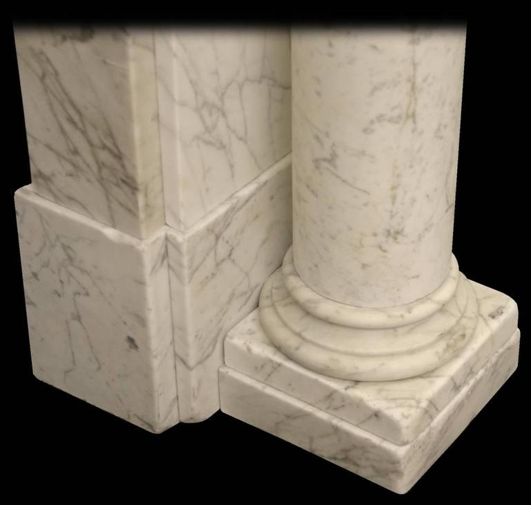 19th Century Antique Early Victorian Carrara Marble Fire Surround For Sale