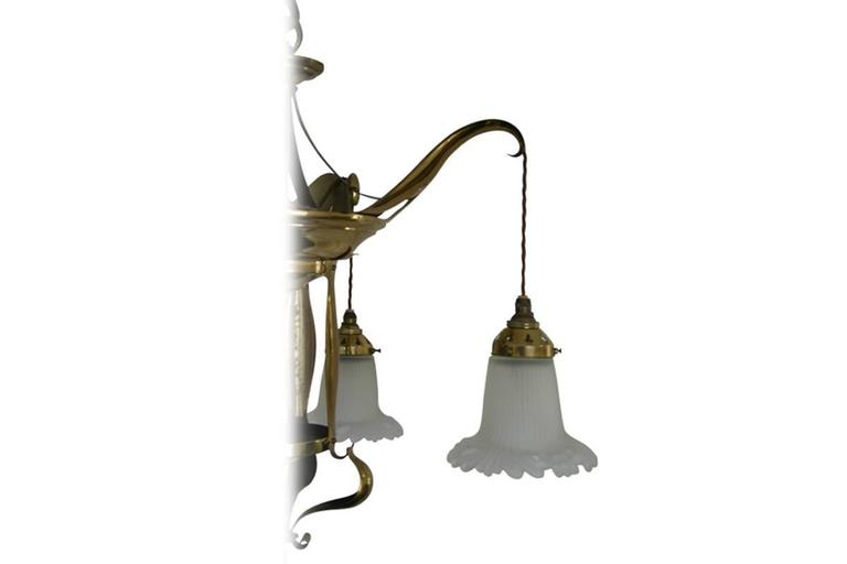 Edwardian Art Nouveau Brass Four Branch Ceiling Light For