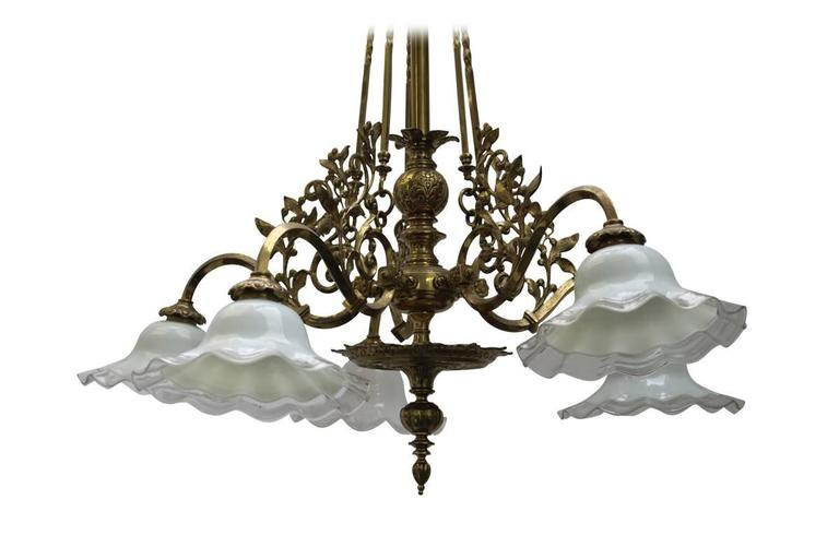 Antique 19th Century Five Branch Brass Ceiling Light For