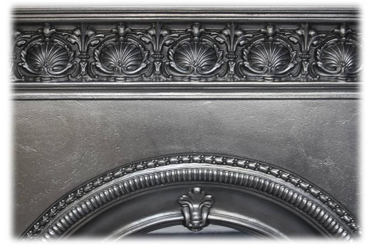 Mid-19th Century Antique Mid-Victorian Arched Cast Iron Fireplace