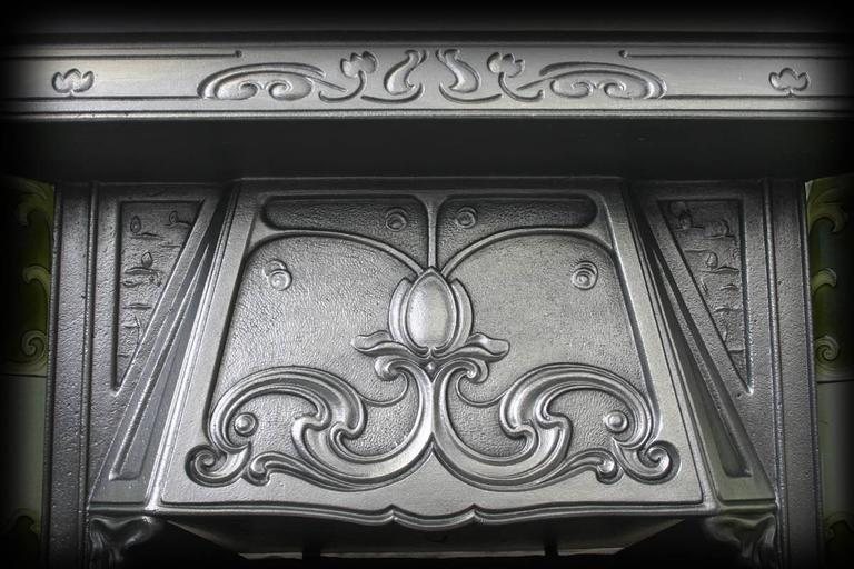 Antique Edwardian Art Nouveau Cast Iron Fireplace Insert For Sale At 1stdibs