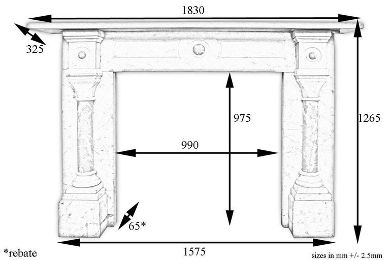Large Antique Pillared Late Victorian Carrara Marble Fireplace Surround For Sale 2