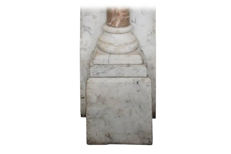 Large Antique Pillared Late Victorian Carrara Marble Fireplace Surround For Sale 1