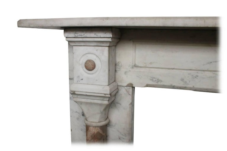 Large Antique Pillared Late Victorian Carrara Marble Fireplace Surround In Excellent Condition For Sale In Manchester, GB