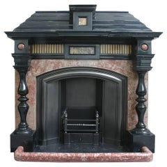 Large 19th Century Victorian Architectural Marble Fireplace Complete with Grate