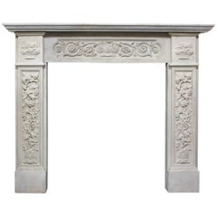 19th Century Victorian Composition Stone Fireplace Mantel