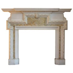 18th Century Georgian Statuary Marble and Alabaster Fireplace Surround