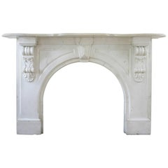 19th Century Victorian Statuary White Marble Fireplace Surround