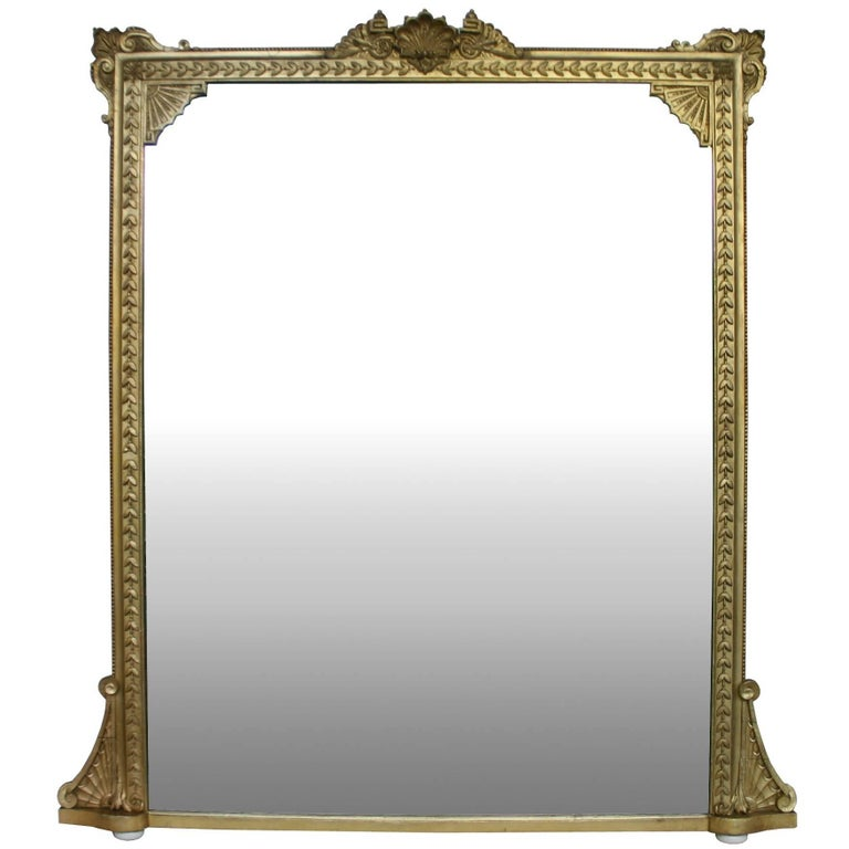 Large 19th Century Giltwood Overmantel Mirror