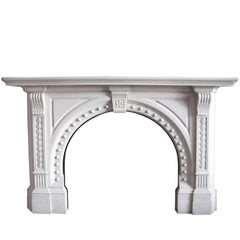 Antique 19th Century Late Victorian Statuary Marble Fireplace Surround