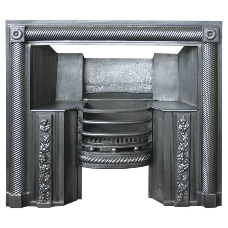 Large 19th Century Regency Cast Iron Fireplace Grate For Sale