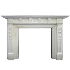 Antique Edwardian Carved Statuary Marble Fireplace Surround
