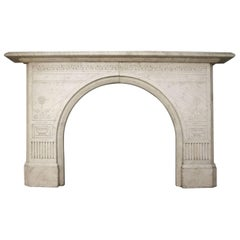 Antique Victorian Arched White Marble Fireplace Mantel