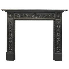 Ornate Antique Victorian Cast Iron Fireplace Surround