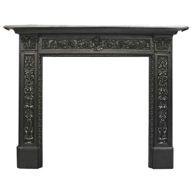 Ornate Antique Victorian Cast Iron Fireplace Surround
