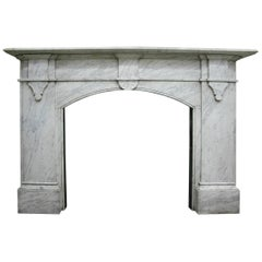 Antique Mid-Victorian Carrara Marble Fireplace Surround