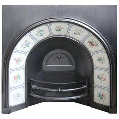 Rare Large Victorian Arched Fireplace Grate with Tiles