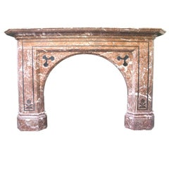 Antique 19th Century Victorian Rouge Marble Inlaid Fireplace Mantel