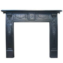 Antique 19th Century Arts & Crafts Cast Iron Fireplace Surround