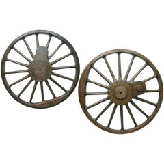 Pair of 19th Century Oak and Pine Reclaimed Locomotive Wheel Patterns