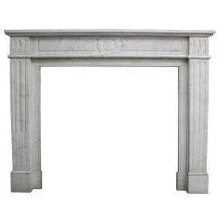 Antique 19th Century Carrara Marble Fire Surround in the Louis XVI Style