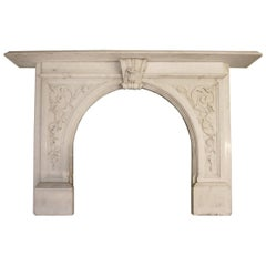 English Antique Victorian Carved Statuary Marble Fireplace Surround