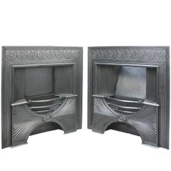 Pair of Victorian Iron Hob Register Grates in the Neoclassical Georgian Manner