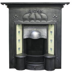 Large and Unusual Cast Iron Edwardian Art Nouveau Tiled Fireplace