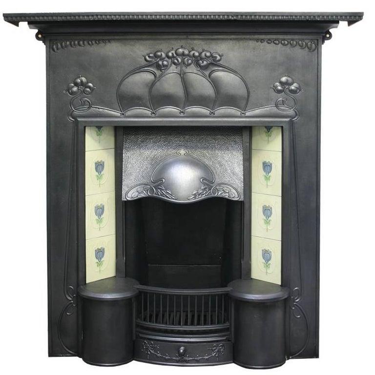 Large and Unusual Cast Iron Edwardian Art Nouveau Tiled Fireplace For Sale