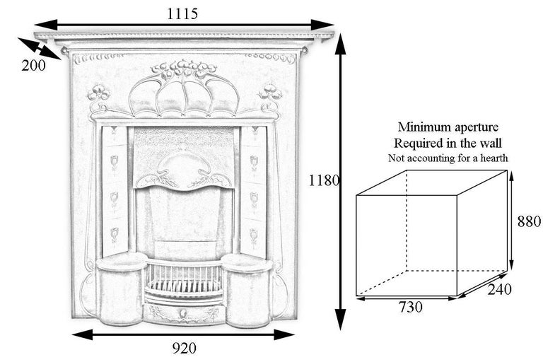Large and unusual Edwardian Art Nouveau fireplace. The shelf with fine dentil moulding sits above a deep and decorative frieze of long flowing tendrils terminating in stylized flowers so typical of the Art Nouveau style. Below the adjustable canopy,