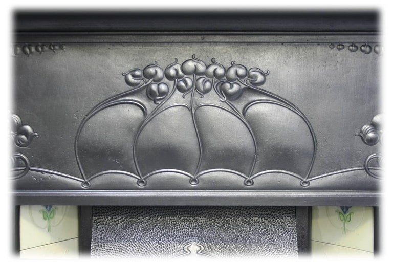 Large and Unusual Cast Iron Edwardian Art Nouveau Tiled Fireplace In Good Condition For Sale In Manchester, GB