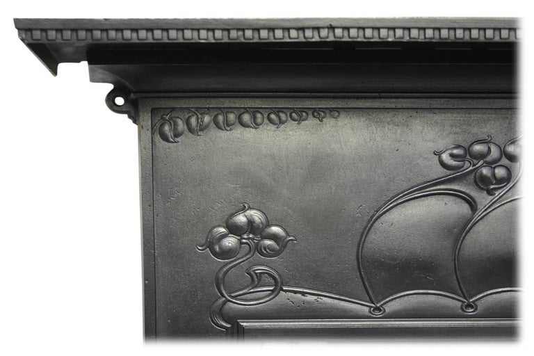 Early 20th Century Large and Unusual Cast Iron Edwardian Art Nouveau Tiled Fireplace For Sale