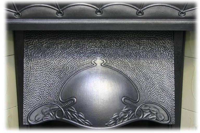Ceramic Large and Unusual Cast Iron Edwardian Art Nouveau Tiled Fireplace For Sale