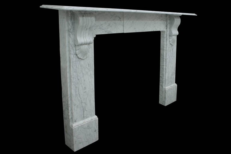 English Antique 19th Century Victorian Carrara Marble Fire Surround For Sale