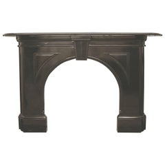 Restored Antique Victorian Black Marble Fireplace with Arched Aperture