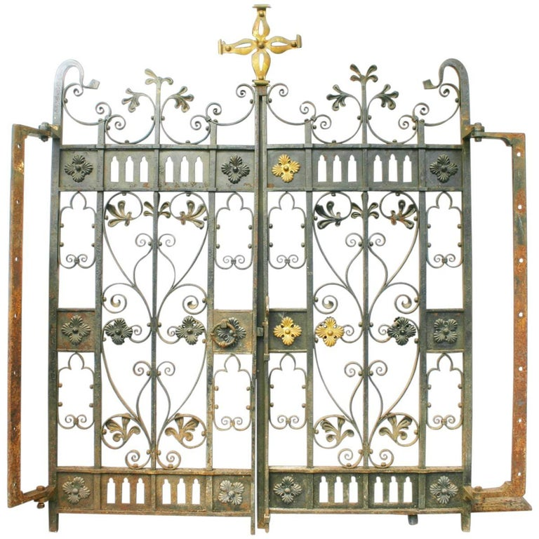 Decorative Antique 19th Century Wrought Iron Gates For Sale