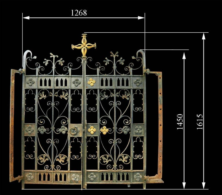 A pair of very decorative 19th century wrought iron gates with brass mounts, with original hinges. 