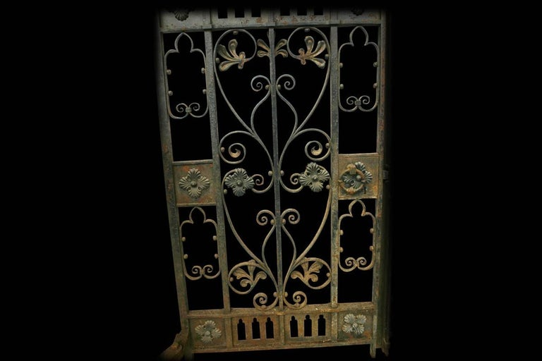 Decorative Antique 19th Century Wrought Iron Gates In Fair Condition For Sale In Manchester, GB