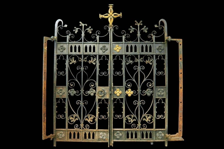 Brass Decorative Antique 19th Century Wrought Iron Gates For Sale