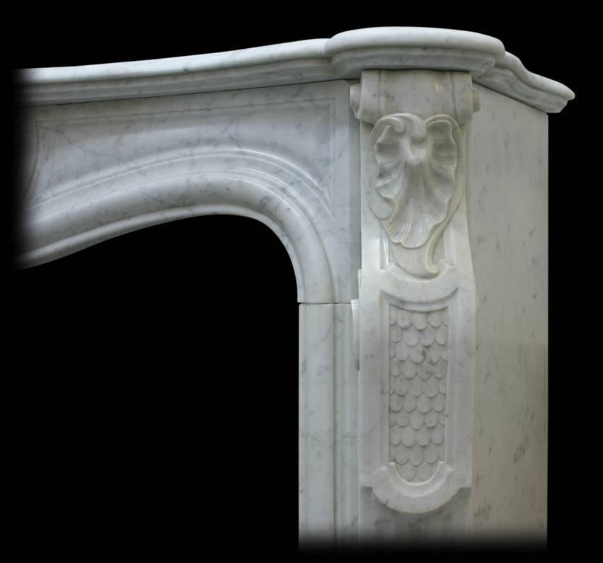 Restored 19th Century Louis XV Carrara Marble Fireplace