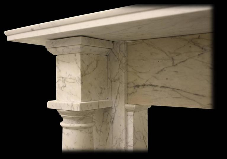 Antique Early Victorian Carrara Marble Fire Surround In Excellent Condition For Sale In Manchester, GB